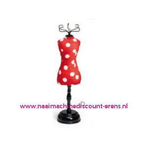 Speldenkussen pasvorm Polka rood/wit art. nr. 610318 - 10152