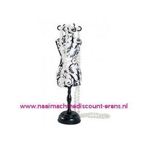 Speldenkussen pasvorm Polka wit/zwart bloem art. nr. 610310 - 10191
