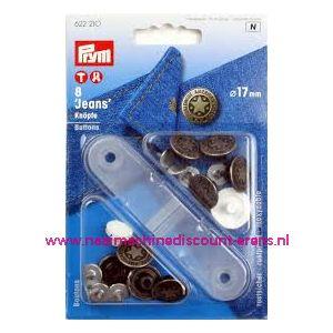 Jeansknopen zilver 8 stuks 17 Mm inslaan Prym art. nr 622210 - 10440