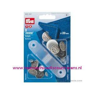 Jeansknopen zilver 6 stuks 20 Mm inslaan Prym art. nr.622237 - 10441