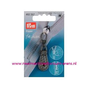 Fashion Zipper leder imitatie grijs geblokt - 10476