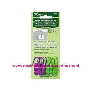 Clover 3165 Locking stitch markers met clip / 011854