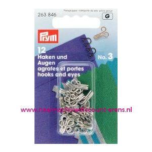Haken En Ogen Ms 3 Zilverkleurig prym art. nr. 263846 - 1206