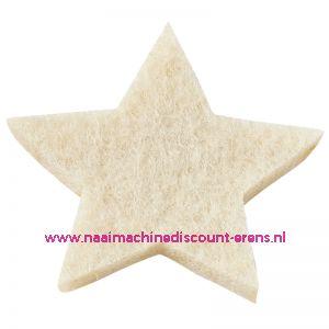 012060 / Vilt sterren dicht art. 3437510 creme 3 Cm 12 Stuks