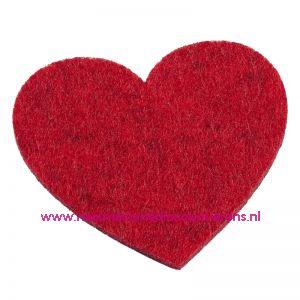 012095 / Vilten hartjes 5,5 x 6 Cm rood mêleerd art. 3437326 4 Stuks
