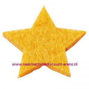 Vilt sterren dicht art. 3437512 geel 3 Cm 12 stuks - 12183