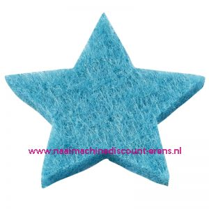 012185 / Vilt sterren dicht art. 3437514 aqua blauw 3 Cm 12 stuks
