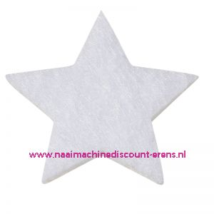 Vilt sterren dicht art. 3437550 wit 3 Cm 12 stuks - 12188