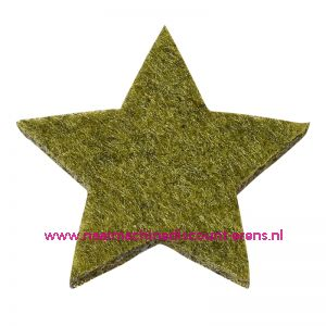 012189 / Vilt sterren dicht art. 3437552 groen mêleerd 3 Cm 12 stuks