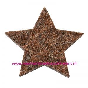 012190 / Vilt sterren dicht art. 3437553 bruin mêleerd 3 Cm 12 stuks