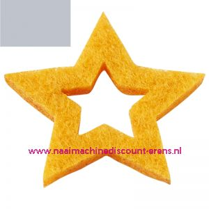 Vilt sterren open 3437521 grijs mêleerd 3 Cm 12 stuks - 12193