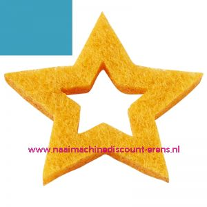 012195 / Vilt sterren open 3437524 aqua blauw 3 Cm 12 stuks