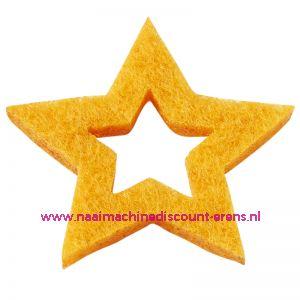 Vilt sterren open 3437522 geel 3 Cm 12 stuks - 12197