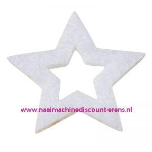 Vilt sterren open 3437560 wit 3 Cm 12 stuks - 12198