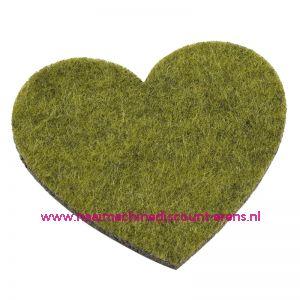 Vilten hartjes 5,5 x 6 Cm groen mêleerd art. 3437329 4 stuks - 12208