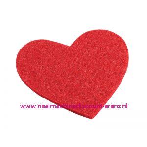 012209 / Vilten hartjes 5,5 x 6 Cm rood art. 3437330 4 stuks