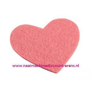 Vilten hartjes 5,5 x 6 Cm roze art. 3437331 4 stuks - 12210
