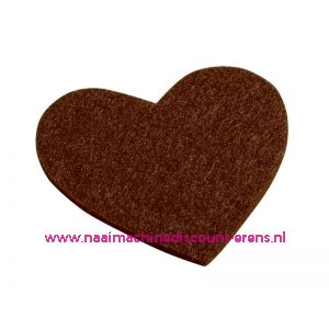 012211 / Vilten hartjes 5,5 x 6 Cm bruin art. 3437332 4 stuks