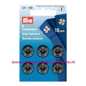 Drukkers Ms Zwart 15 Mm prym art. nr. 341169 - 1254