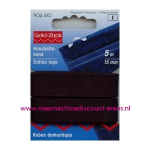 001547 / Huishoudband  15 Mm Zwart Goldzack art. nr. 904610