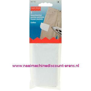 001594 / Broekzakken 1/2 Opstrijkbaar Katoen Wit art. nr. 967110