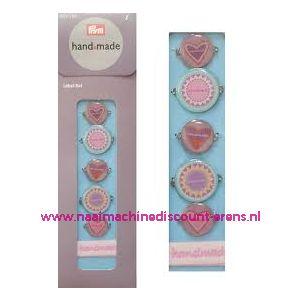 002347 / Handmade label set kleur blauw / bont prym art. nr. 403782