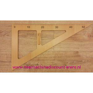 Houten Driehoek Liniaal 50 Cm met handvat