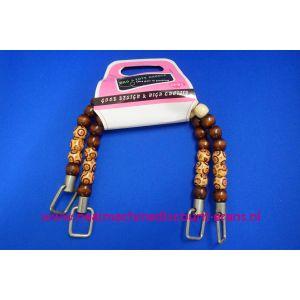 Handvat voor Handtas gekleurde houten kralen 35 Cm - 6034