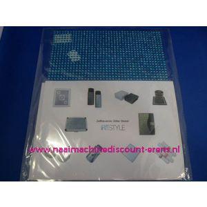 "006291 / Zelfklevende Glitter Stickers ""RESTYLE"" aqua blauw"