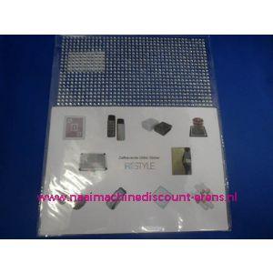 "006298 / Zelfklevende Glitter Stickers ""RESTYLE"" zilver"
