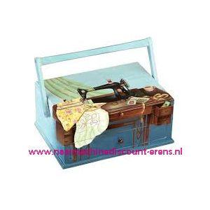 009884 / Naaikoffer Handbeschilderd blauw naaimachine prym 612518