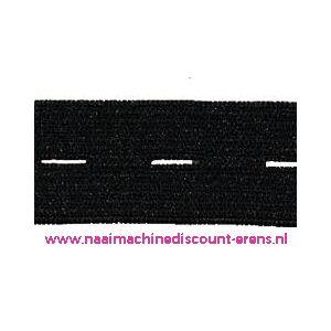 Knoopsgaten elastiek Zwart - 9944