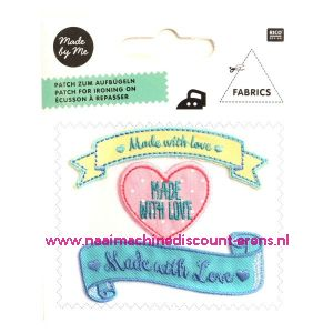 """Rico Design Patch Geel """"Made with Love"""""""