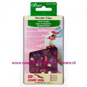 Clover 3156 wonder clips 50 stuks Rood