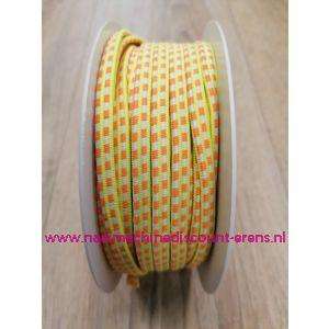 """Sier Elastiek 6 Mm per meter """"Neon geel-oranje"""""""