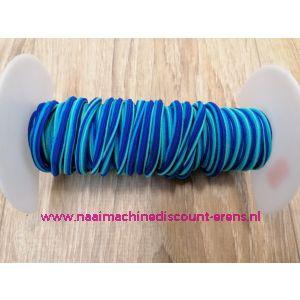 """Elastiek Koord 5 Mm per meter """"Neon aqua-kobalt-licht blauw"""""""