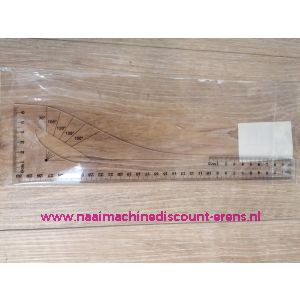 Coupeuse Liniaal / Tekenhaak Klein 30 Cm Transparant