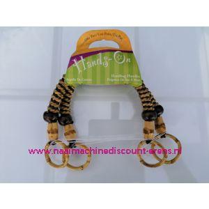 "Handvat ""BLUMENTHAL CRAFT"" handmade 38cm bruin- beige / hout-touw"