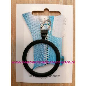 """Modische Schuiver """"metaal ring zwart 60mm"""" UNION KNOPF art.nr. 58361"""