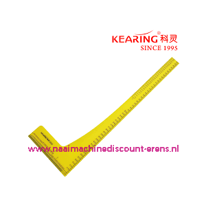 Kearing Plastic 50 cm Kleermakers liniaal / Quilt liniaal