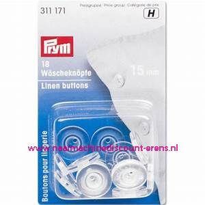 Wasknopen transparant 15 Mm 18 stuks prym art.nr. 311171