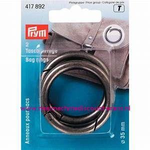 """Zelfsluitende Ringen voor tassen """"donker zilver/zwart""""  35 Mm prym art.nr. 417892"""