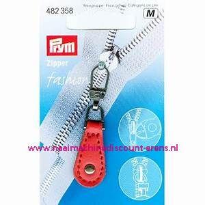 """Fashion Zipper leder imitatie """"rood"""" prym art.nr. 482358"""