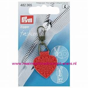 "Fashion Zipper leder imitatie ""rood hart"" prym art.nr. 482365"