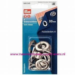 Draaisluitingen / Twist sloten Ms Zilverkleurig 33 Mm 4 stuks prym art.nr. 545510