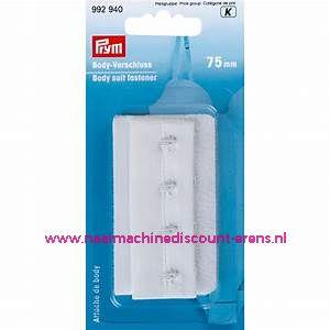 Bodystocking-Sluiting Met Haken & Ogen 75 Mm Wit prym art.nr. 992940