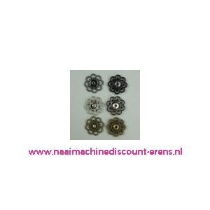 Sier Drukknoop Bloemmotief Zilver 20 Mm per stuk