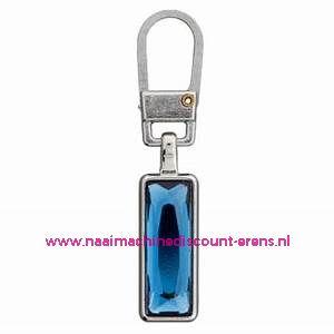 "Modische Schuiver ""metaal zilver strass blauw 45mm"" UNION KNOPF art.nr. 500513"
