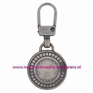 """Modische Schuiver """"metaal zilver rond 45mm"""" UNION KNOPF art.nr. 58595"""
